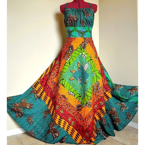 EverGreen - Long African Maxi Dress, Ooak Tribal Goddess Gown, Rich Summer colors, Best for - M, L, maybe xL