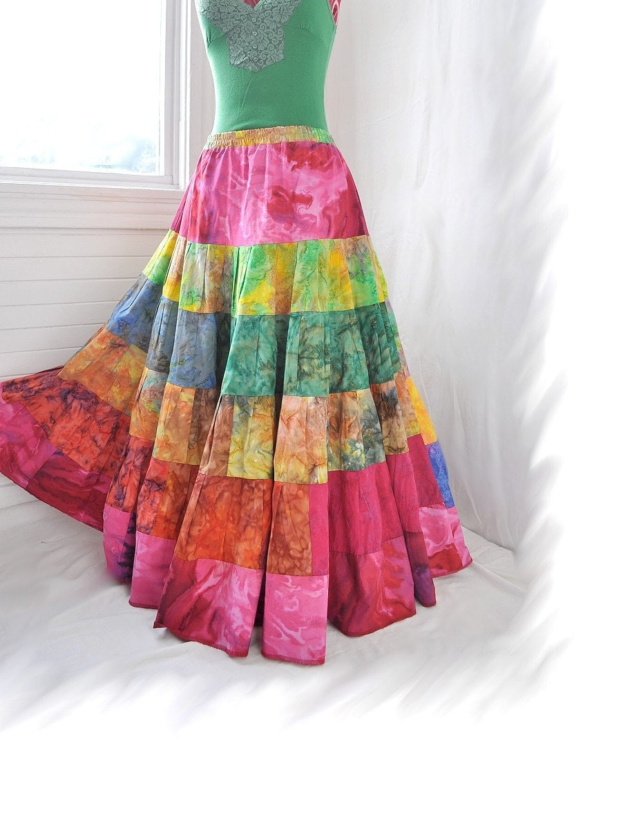 Watercolour Whirl Long Hippy Patchwork skirt Colorful Boho