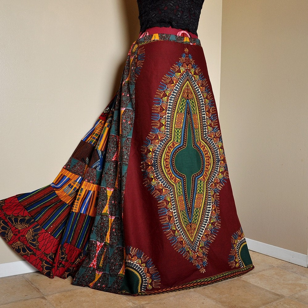 African Ruby Long African Patchwork Skirt Ethnic Hippie