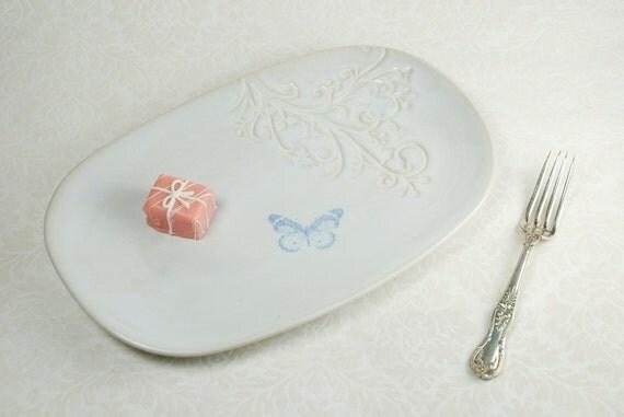 Butterfly Serving Platter in White Moonglow Glaze