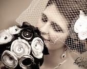 Wedding Flower Bouquet Satin Fabrics - Alternative New Years Eve Black White and Silver