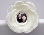 RESERVED Personalized photograph memorial flower for your bouquet that detaches to become a brooch
