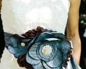 Statement Bridal Belt Wedding Sash Two Toned Blue Taffeta and Chocolate