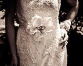 Statement Bridal Belt Wedding Sash Cream and Rhinestones