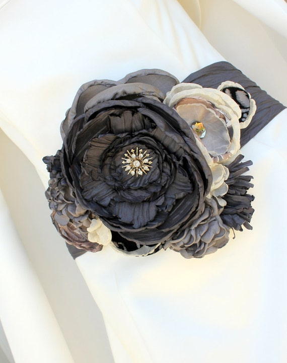 Statement Bridal Belt Wedding Dress Sash Charcoal and Graphite