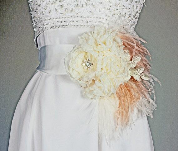 Statement Bridal Belt Wedding Dress Sash Ivory and Blush with Feathers
