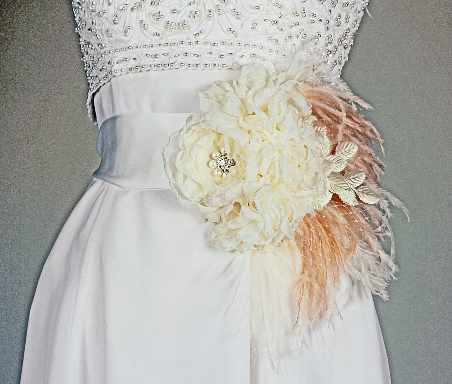statement bridal belt wedding dress sash ivory and by