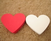 50 Large Red & White Color Valentine Wedding Party Heart Shape Hand Punch Colors Scrapbooks Confetti Tag Paper Die Cut Cards
