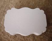 "50 Large White Bracket Labels Shape 2.25""X1.5"" Hand Punch Colors Scrapbooks Confetti Tag Paper Die Cut Cards"