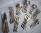 Vintage Silverware Set  8 Place Settings National Silver Co  NTS 16 Pattern Plus 5 additional pieces