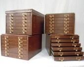 RESERVED for Jessica  /  Vintage Shaw- Walker Office Flatfile 24 Drawer Cabinet - Woodgrain Metal