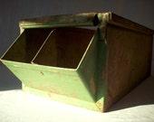 Reserved for Alan / Vintage Industrial Metal Hardware Bin with Divider / Painted Metal Bin / Storage Organization / Rusty Metal Bin