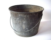 Vintage Metal Bucket with Handle / Distressed