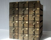Vintage Library Card Catalog Drawers with Label Hardware / Wood / Distressed