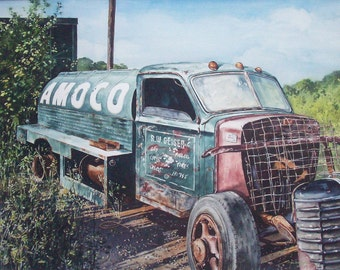 Watercolor Painting / Fine Art / Old Rusty Truck / Amoco Oil Truck / Original Painting