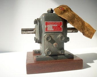 Vintage Industrial Perfection Gear with Instruction Tag / Wood Block Base