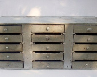 Vintage Industrial 15 Drawer Wood Cabinet / Painted Silver / Handmade Homemade / Primitive