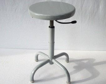 Vintage Metal Stool / Adjustable / Biofit 1998 / Gray / Shop Stool / Work Stool / Studio Stool