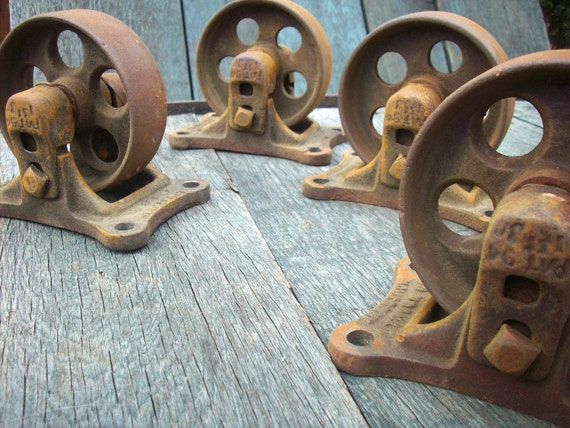 Vintage Industrial Casters / Set of 4 / Armstrong Truck Co Philadelphia PA No S 51