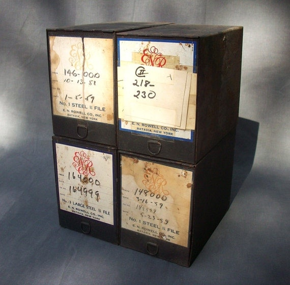 RESERVED for JYA 1124  Vintage Pharmacy Rx File Boxes / E.N. Rowell Co. Inc. Batavia New York /Set of 4
