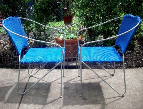 RESERVED for Lorena  Vintage Pair of Iron / Steel Outdoor Chair Frames / 2 Chairs