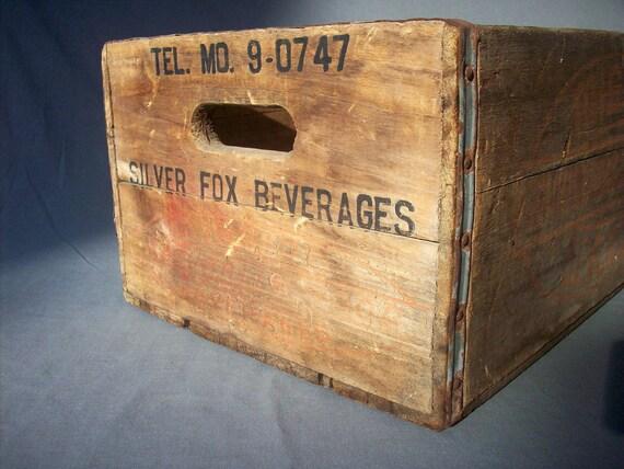 Vintage Printed Wood Beverage Crate / Mission Beverages / Large
