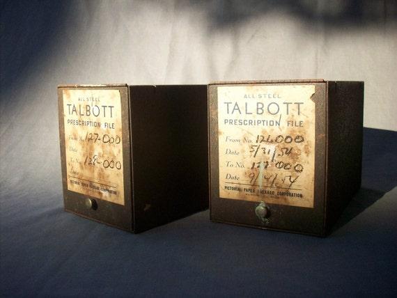 Vintage Pharmacy Steel Prescription Rx File Boxes / 2 boxes
