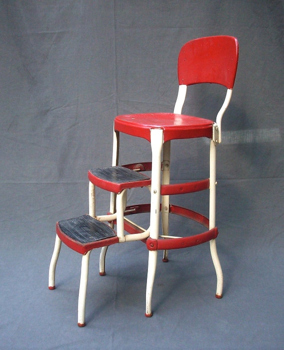 Vintage Cosco Metal Step Stool Chair
