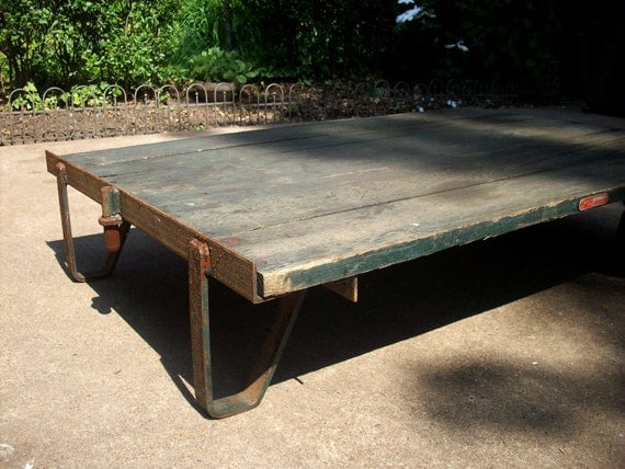 Vintage Industrial Warehouse Cart Coffee Table Industrial Decor