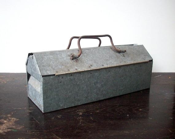 Vintage Galvanized Metal Handmade Tool Tote / Small / Primitive / Homemade