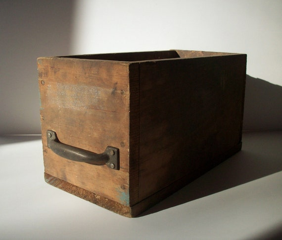 Vintage Wood Box With Metal Handle Factory Find By
