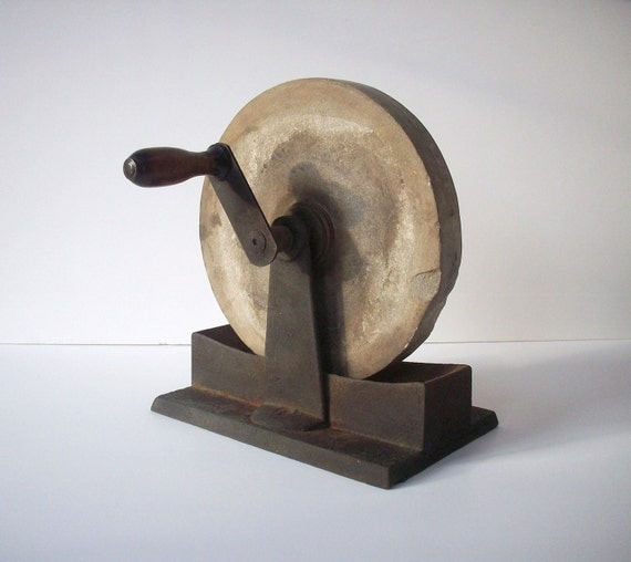 Vintage Grinding Wheel With Handle Steel And Stone