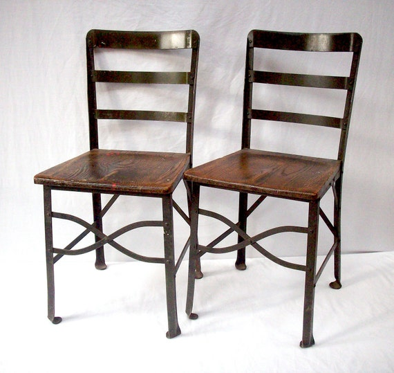 Reserved for BRIAN / S A L E  Vintage Industrial Steel and Wood Chairs / Angle Steel Stool Co. Plainwell Mich / 2 Chairs