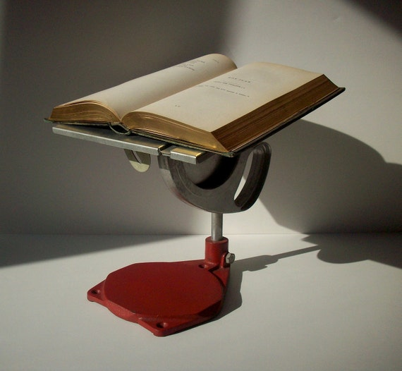 Vintage Industrial Book Holder Shelf / Laptop Stand / Previously a Tool / Red and Silver