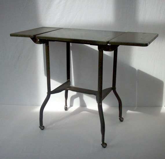 Vintage Industrial Metal Work Table with Wheels and Fold Down Sides / Toledo Guild Products Inc