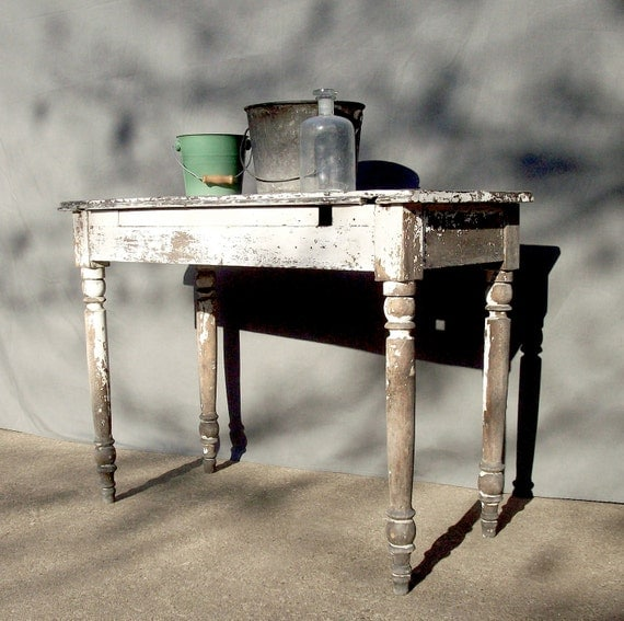 Vintage Painted Wood Table / Distressed Chippy Rustic Weathered Primitive