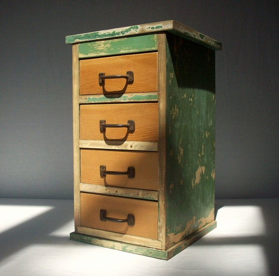 Vintage Inspired Painted Wood Cabinet with 4 Drawers / Upcycled Vintage Wood / Distressed