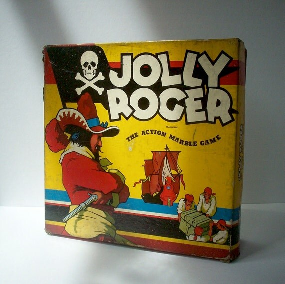 RESERVED for Lili POPPY / Vintage Board Game / Jolly Roger / Cadaco Ellis / 1943 / Pirate Marble Peg Game
