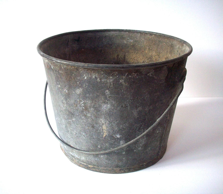 vintage metal bucket with handle distressed
