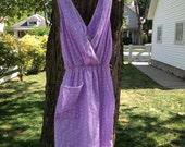 Vintage Lavender Rose Print Dress