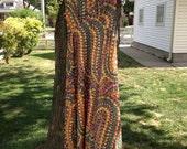Vintage Rainbow Dot Maxi Dress