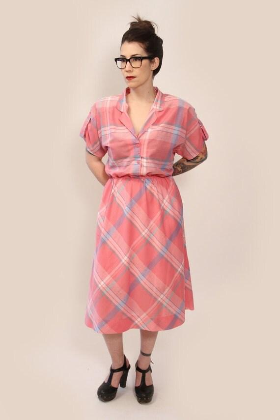 Vintage Pink Plaid Dress
