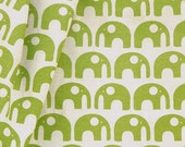 SALE Hand-printed Fabric - Elephants in Spring Green on organic cotton & hemp (1/2 metre) - 25% OFF