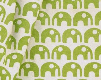 SALE Hand-printed Fabric - Elephants in Spring Green on organic cotton & hemp (1/2 metre) - 25% OFF