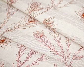 30% OFF Handprinted Fabric by Ink and Spindle - Leuca in Red on Organic Cotton & Hemp