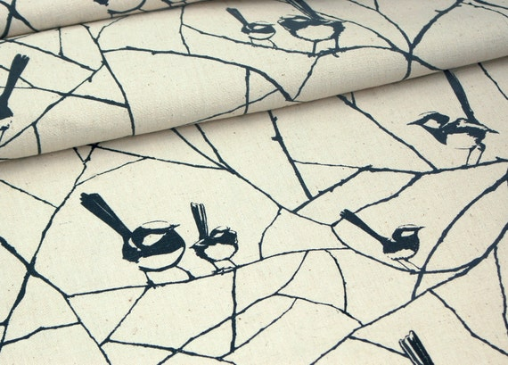 Hand-printed Fabric by Ink and Spindle - Wrens in Charcoal - Screenprinted on organic cotton & hemp (fat quarter)