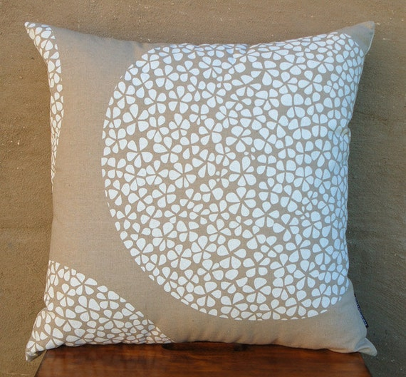 Hand-printed Fabric - Perfect Circle in White - Screenprinted on cotton linen fabric (fat quarter)