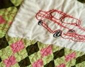 Retro 50s Ford Galaxy Mini Art Quilt - FREE sock monkey