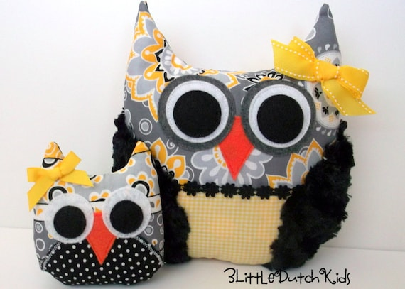 Melissa and Little Sister (Yellow, Gray, and Black Owl Pillow Set)