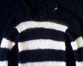 Mohair sweater by camdenlock clothing punk rock black and white stripe handmade knitting
